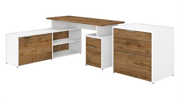 """L Shaped Desks Bush Furniture 60"""" W L-Shaped Desk with Drawers and Lateral File Cabinet"""