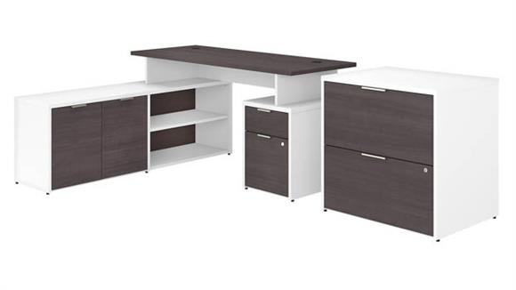 """L Shaped Desks Bush Furniture 60""""W L-Shaped Desk with Drawers and Lateral File Cabinet"""