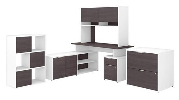 "L Shaped Desks Bush Furniture 60""W L-Shaped Desk with Hutch, Lateral File Cabinet and 6 Cube Organizer"