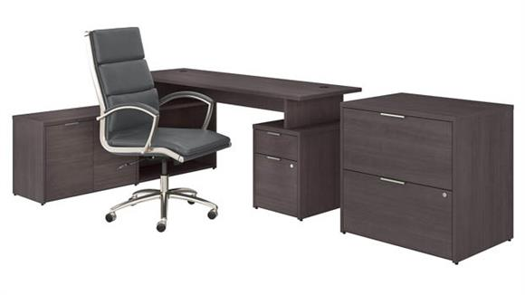 """L Shaped Desks Bush Furniture 72"""" W L-Shaped Desk with Lateral File Cabinet and High Back Office Chair"""