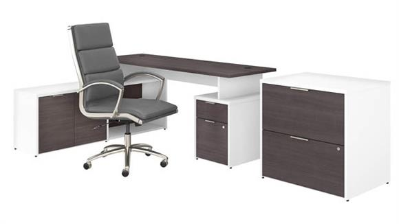 """L Shaped Desks Bush Furniture 72""""W L-Shaped Desk with Lateral File Cabinet and High Back Office Chair"""