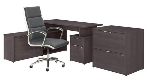 """L Shaped Desks Bush Furniture 60"""" W Desk with Vertical File Cabinet and Low Storage Return, plus Lateral File Cabinet and High Back Leather Executive Office Chair"""