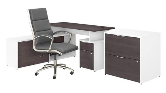 """L Shaped Desks Bush Furniture 60""""W L-Shaped Desk with Lateral File Cabinet and High Back Office Chair"""