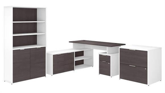 "L Shaped Desks Bush Furniture 60"" W L-Shaped Desk with Lateral File Cabinet and 5 Shelf Bookcase"