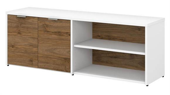 """L Shaped Desks Bush Furniture 60""""W Low Storage Cabinet with Doors and Shelves"""