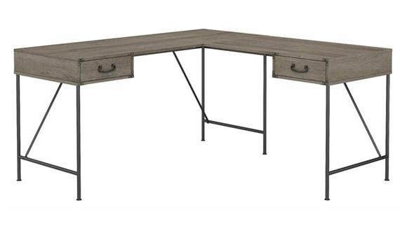 "L Shaped Desks Bush Furniture 60"" W L-Shaped Writing Desk with Drawers"