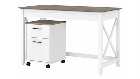 "Writing Desks Bush Furniture 48"" W Writing Desk with 2 Drawer Mobile File Cabinet"