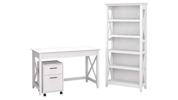 """Writing Desks Bush Furniture 48"""" W Writing Desk with 2 Drawer Mobile File Cabinet and 5 Shelf Bookcase"""