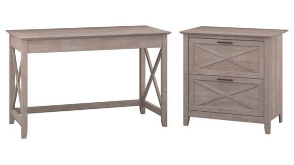 """Writing Desks Bush Furniture 48""""W Writing Desk with 2 Drawer Lateral File Cabinet"""