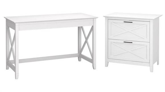 """Writing Desks Bush Furniture 48"""" W Writing Desk with 2 Drawer Lateral File Cabinet"""