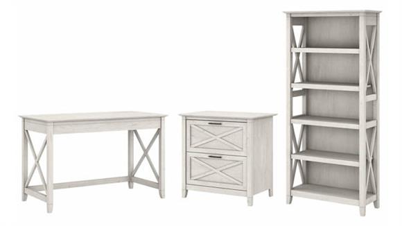 """Writing Desks Bush Furniture 48"""" W Writing Desk with 2 Drawer Lateral File Cabinet and 5 Shelf Bookcase"""