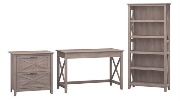 """Writing Desks Bush Furniture 48""""W Writing Desk with 2 Drawer Lateral File Cabinet and 5 Shelf Bookcase"""