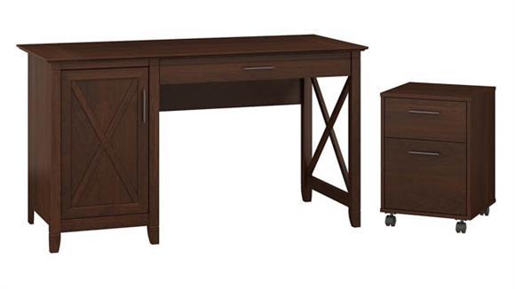 "Computer Desks Bush Furniture 54"" W Computer Desk with Storage and 2 Drawer Mobile File Cabinet"
