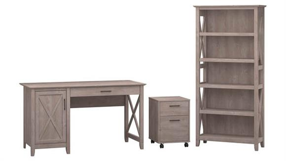 "Computer Desks Bush Furniture 54""W Computer Desk with 2 Drawer Mobile File Cabinet and 5 Shelf Bookcase"