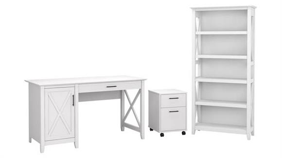"Computer Desks Bush Furniture 54"" W Computer Desk with 2 Drawer Mobile File Cabinet and 5 Shelf Bookcase"