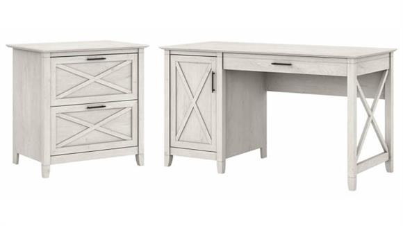 """Computer Desks Bush Furniture 54"""" W Computer Desk with Storage and 2 Drawer Lateral File Cabinet"""