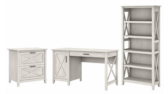 "Computer Desks Bush Furniture 54"" W Computer Desk with 2 Drawer Lateral File Cabinet and 5 Shelf Bookcase"