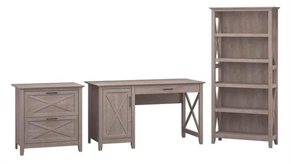 "Computer Desks Bush Furniture 54""W Computer Desk with 2 Drawer Lateral File Cabinet and 5 Shelf Bookcase"