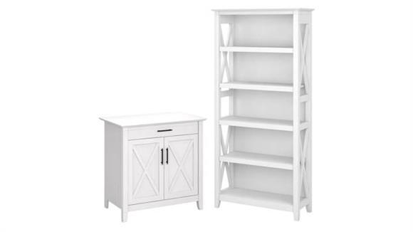 Compact Desks Bush Furniture Secretary Desk with 5 Shelf Bookcase