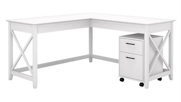 """L Shaped Desks Bush Furniture 60"""" W L-Shaped Desk with Mobile File Cabinet"""