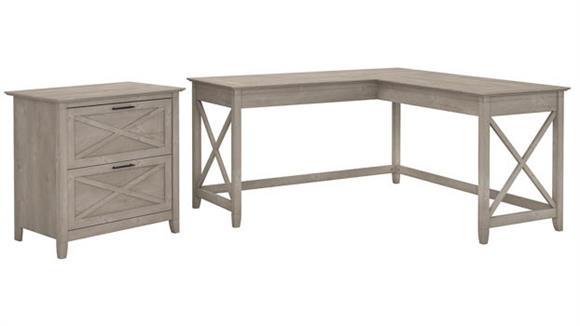 "L Shaped Desks Bush Furniture 60""W L-Shaped Desk with Lateral File Cabinet"