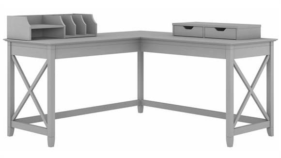 "L Shaped Desks Bush Furniture 60"" W L-Shaped Desk with Desktop Organizers"