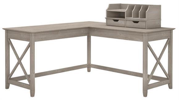 "L Shaped Desks Bush Furniture 60""W L-Shaped Desk with Desktop Organizers"