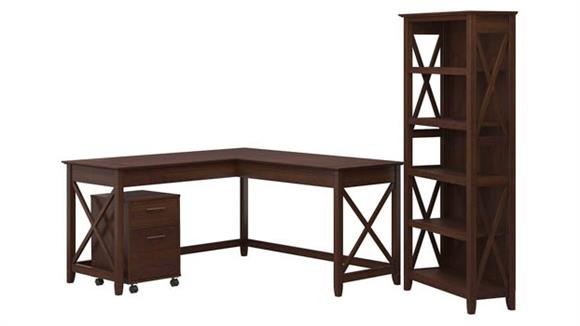 "L Shaped Desks Bush Furniture 60"" W L-Shaped Desk with Mobile File Cabinet and 5 Shelf Bookcase"
