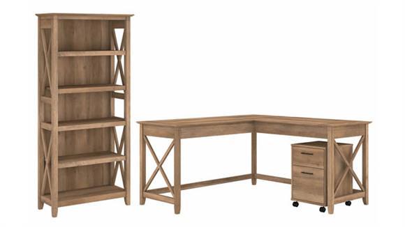 "L Shaped Desks Bush Furniture 60""W L-Shaped Desk with Mobile File Cabinet and 5 Shelf Bookcase"
