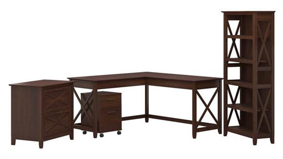"L Shaped Desks Bush Furniture 60"" W L-Shaped Desk with File Cabinets and 5 Shelf Bookcase"