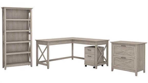 "L Shaped Desks Bush Furniture 60""W L-Shaped Desk with File Cabinets and 5 Shelf Bookcase"
