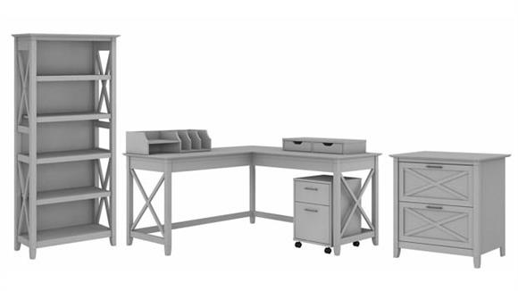 "L Shaped Desks Bush Furniture 60"" W L-Shaped Desk with 2 File Cabinets, Bookcase and Desktop Organizers"