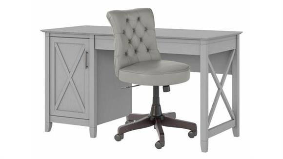 """Computer Desks Bush Furniture 54"""" W Computer Desk with Mid Back Tufted Office Chair"""