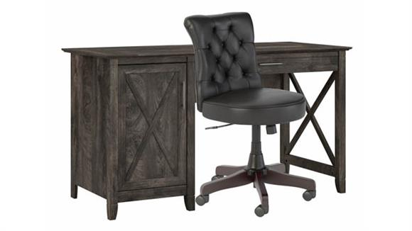 """Computer Desks Bush Furniture 54""""W Computer Desk with Mid Back Tufted Office Chair"""