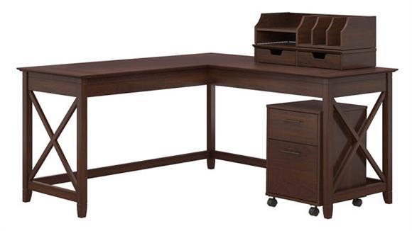 "L Shaped Desks Bush Furniture 60""W L-Shaped Desk with Desktop Organizers and Mobile File Cabinet"