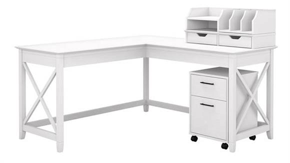 "L Shaped Desks Bush Furniture 60"" W L-Shaped Desk with Desktop Organizers and Mobile File Cabinet"