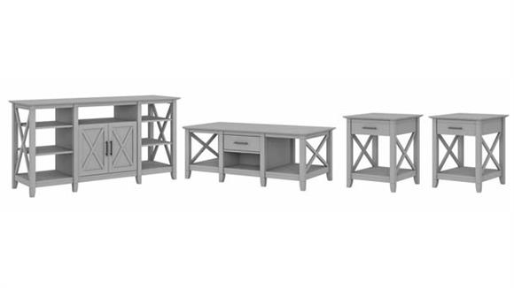 TV Stands Bush Furniture TV Stand with Coffee Table and Set of 2 End Tables
