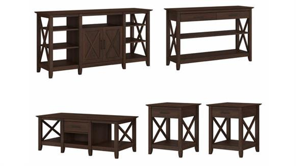 Coffee Tables Bush Furniture Tall TV Stand with Coffee Table, Console Table and Set of 2 End Tables