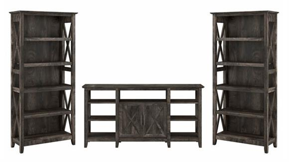 TV Stands Bush Furniture TV Stand with Set of 2 Bookcases
