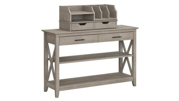 Console Tables Bush Furniture Console Table with Storage and Desktop Organizers