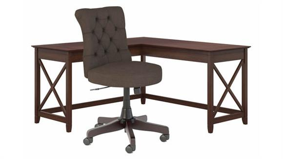 """L Shaped Desks Bush Furniture 60"""" W L-Shaped Desk with Mid Back Tufted Office Chair"""