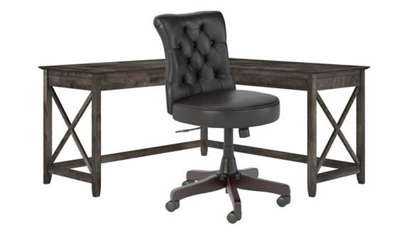 """L Shaped Desks Bush Furniture 60""""W L-Shaped Desk with Mid Back Tufted Office Chair"""