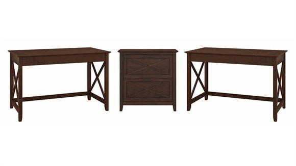 Computer Desks Bush Furniture 2 Person Desk Set with Lateral File Cabinet