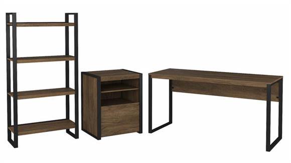 """Writing Desks Bush Furniture 60"""" W Writing Desk with Printer Stand File Cabinet and Etagere Bookcase"""