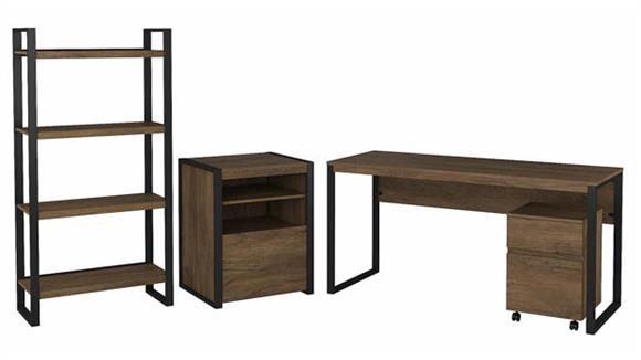 """Writing Desks Bush Furniture 60"""" W Writing Desk with Mobile File Cabinet, Printer Stand File Cabinet and Etagere Bookcase"""