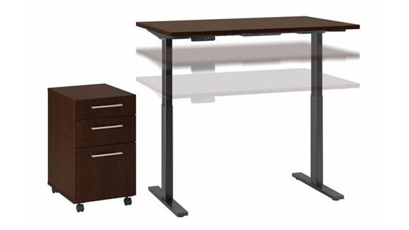 "Adjustable Height Desks & Tables Bush Furniture 48""W x 24""D Electric Height Adjustable Standing Desk with Mobile File Cabinet"