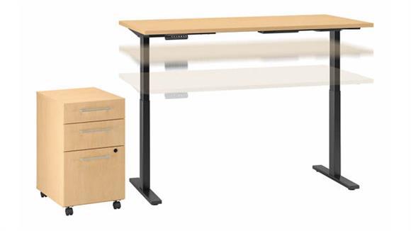 "Adjustable Height Desks & Tables Bush Furniture 60""W x 30""D Electric Height Adjustable Standing Desk with Mobile File Cabinet"