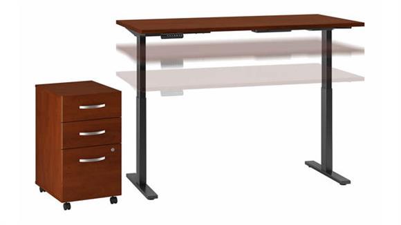 "Adjustable Height Desks & Tables Bush Furniture 72""W x 30""D Electric Height Adjustable Standing Desk with Mobile File Cabinet"