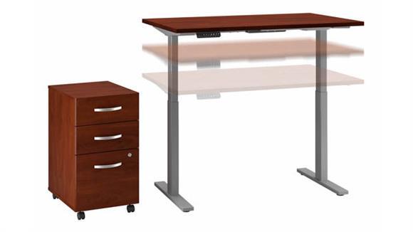 """Adjustable Height Desks & Tables Bush Furniture 48"""" W x 30"""" D Height Adjustable Standing Desk with Assembled 3 Drawer Mobile Filing Cabinet"""