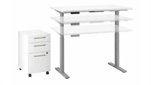"Adjustable Height Desks & Tables Bush Furniture 48"" W x 30"" D Electric Height Adjustable Standing Desk with Mobile File Cabinet"